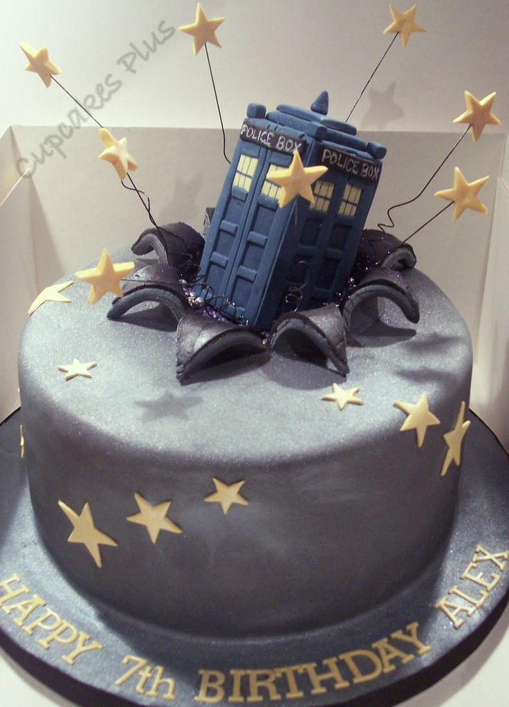 "Dr Who Tardis cake - 8"" lemon drizzle sponge with tardis made out of rice crispy cake!! The birthday boy was more excited about eating the tardis than the cake!!!"
