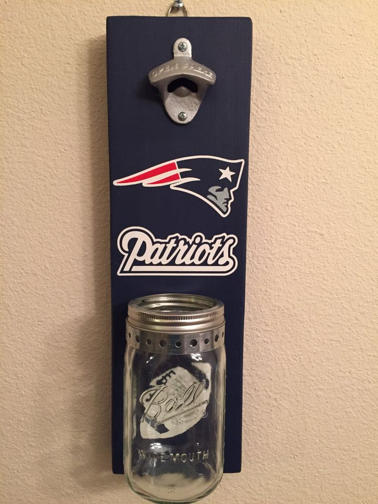 NEW ENGLAND PATRIOTS Bottle Opener with Mason Jar Rustic Football Patriots - pinned by pin4etsy.com