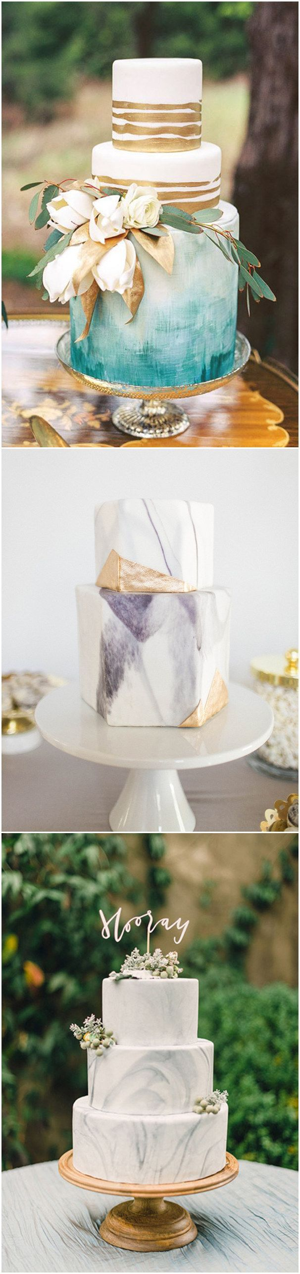 LOVE LOVE LOVE!!! Especially the top aqua/teal white and gold cake. modern marble wedding cakes for 2017