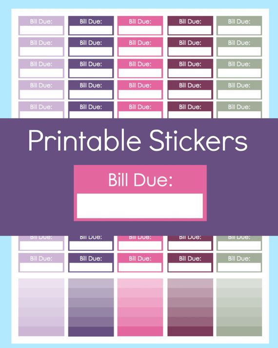 Bill Due Stickers, Printable Planner Stickers, Great for Erin Condren Life Planner