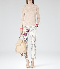 Olivia Sugar Floral-print Trousers - REISS