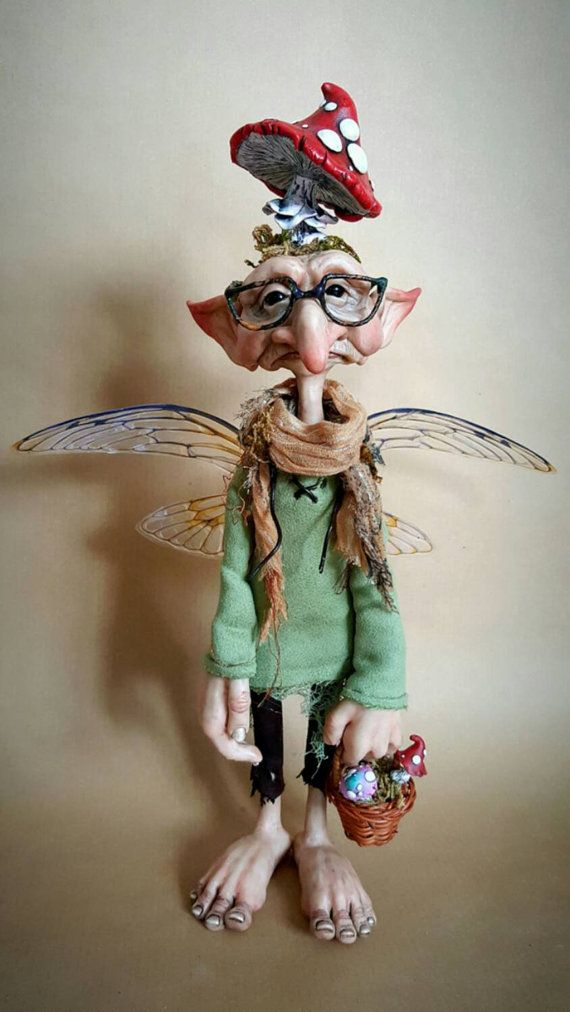 OOAK Mushroom Collector Faerie Poseable Fantasy Art by FaunleyFae