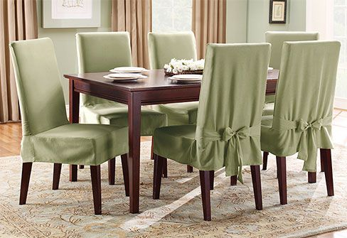 Sure Fit Slipcovers Cotton Duck Short Dining Chair Cover - Shorty