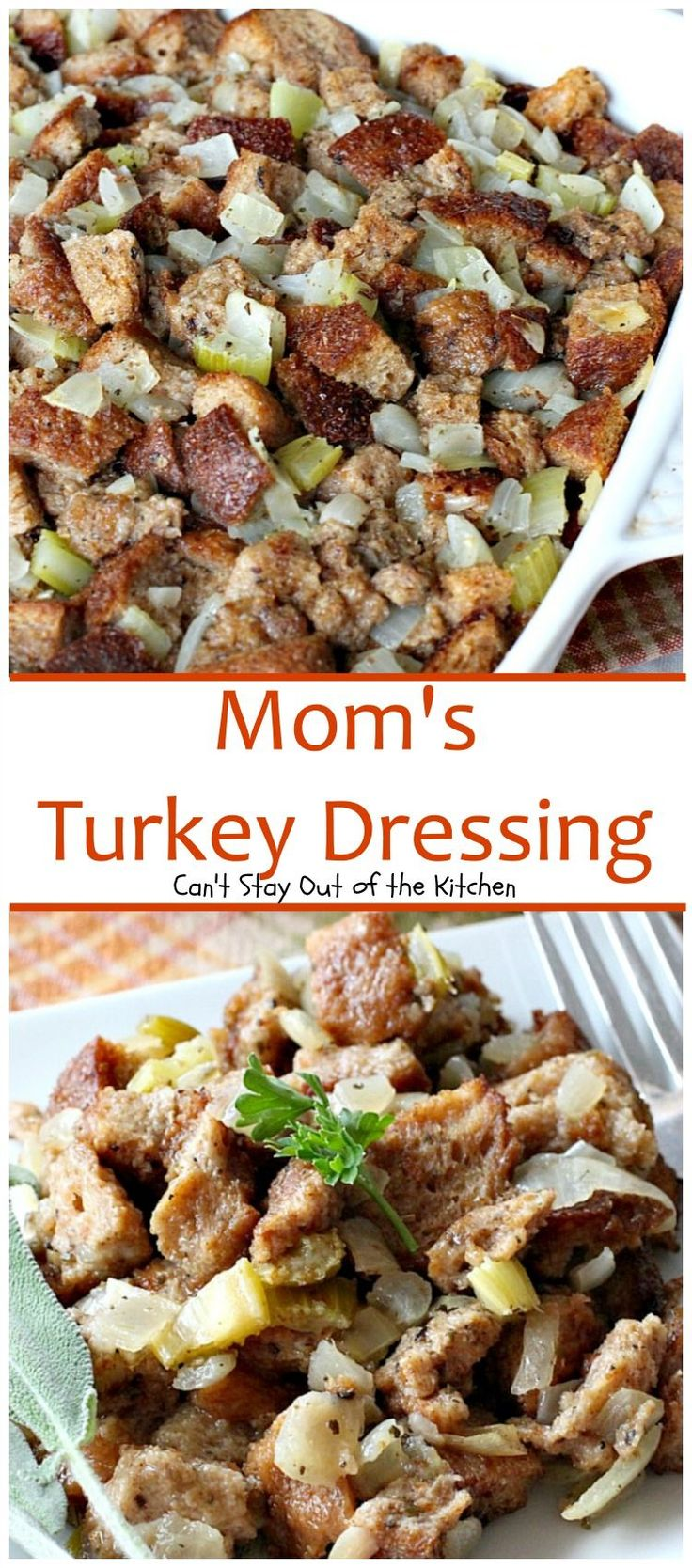 Favorite turkey dressing recipe with stale bread, celery, onions, sage, and turkey broth. Quick and easy and very delicious!