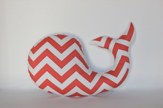 Coral chevron WHALE pillow - nursery decor baby shower - white minky