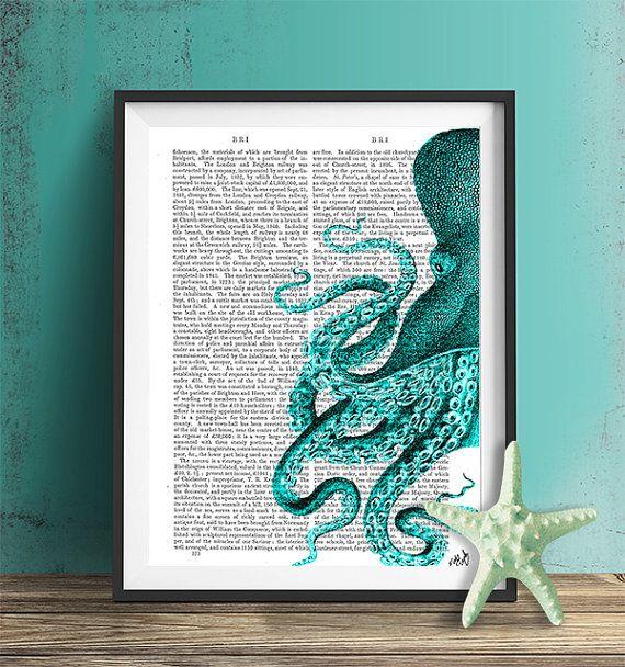 Green Octopus Half  Octopus print nautical door DottyDictionary