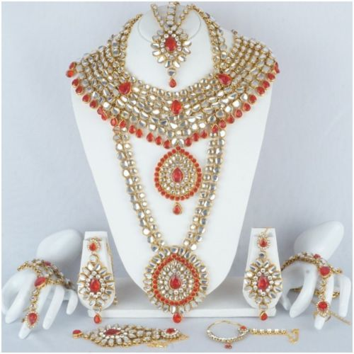 Indian-Bollywood-Wedding-Ethnic-Bridal-Gold-Plated-9-PCS-Jewelry-Necklace-Set
