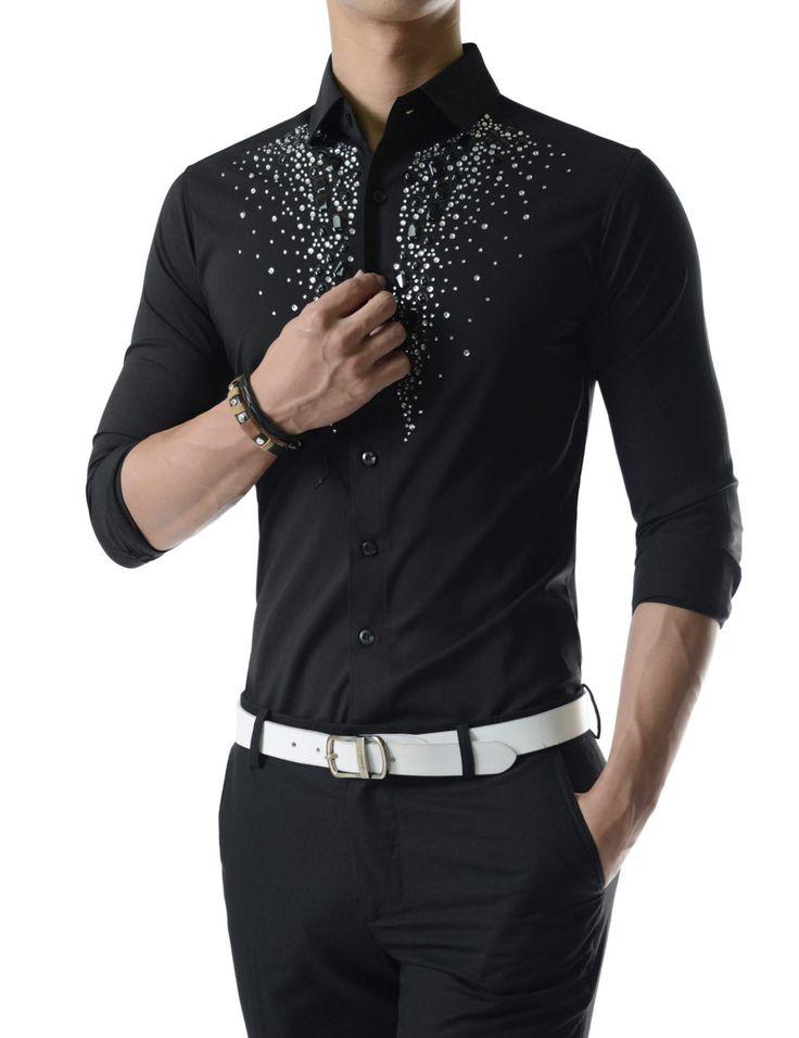 Luxury Stretchy Diamante Bling Gem Shine Rhinestones Long Sleeve Shirts