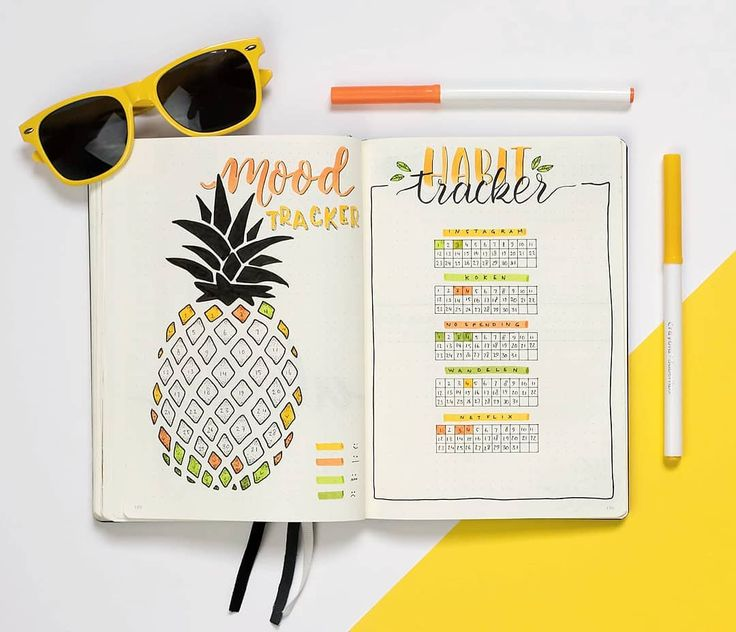 Bullet journal monthly mood tracker, bullet journal monthly habit tracker, pineapple drawing. | @dutch_dots