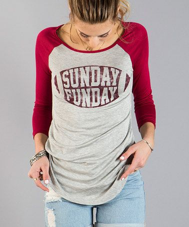 Look what I found on #zulily! Red 'Sunday Funday' Raglan Top #zulilyfinds