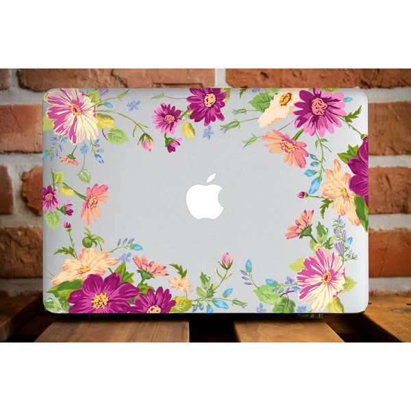 Pretty Flower Frame MacBook Case Mac Pro 13 Case MacBook Pro Retina 13... ($50) ❤ liked on Polyvore featuring accessories and tech accessories