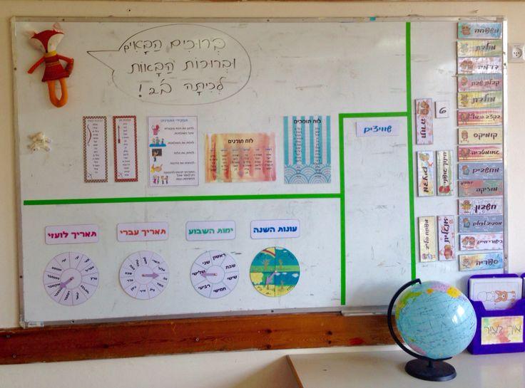 Minimalist Classroom Activities ~ הילה מזרחי לוח מודעות הודעות סדר יום גלגל עונות