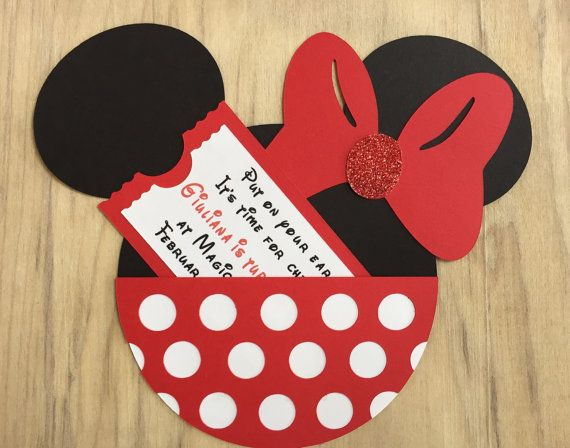 Minnie Mouse Handmade Birthday Invitation Party by PhasesOfLove