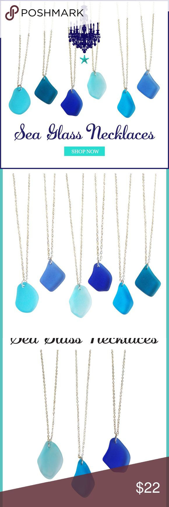 Choose Your Color Sea Glass Necklaces Sea glass Necklaces are perfect to wear on vacations,spring and summer.  These make perfect inexpensive unique gifts,housewarming gifts and also the great beach bridesmaid gifts and come packaged in an aqua gift box ready for gift giving. The necklaces come on a gold plated 17 inch thin chain  All of our sea glass jewelry is unlike natural sea glass found on the beaches, these are pieces of broken glass that have been tumbled with diamond sand and…