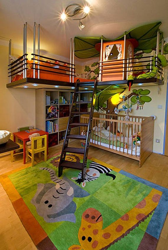 Turn the nursery into a jungle adventure, complete with a ladder to climb to a treetop fort. Colorful rugs and furniture add to the playful nature of this room. Get more kids room design ideas at http://www.lender411.com/featured-article-home-diy-on-a-budget-kids-room-ideas-lender411-com/.