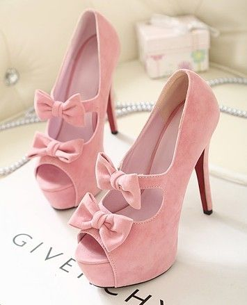 #pink pink bow shoes - So cute! Just wish they didn't have the platform! I LOVE pumps but loathe this platform trend, they're (Usually) ugly and impossible to walk in, and I'm a pro at walking in stilettos!