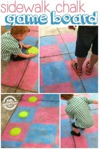 Sidewalk chalk game board. Could use spray paint for the lawn as well.