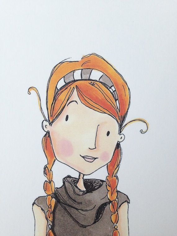 Little Red Braids Print by leahmcr8 on Etsy