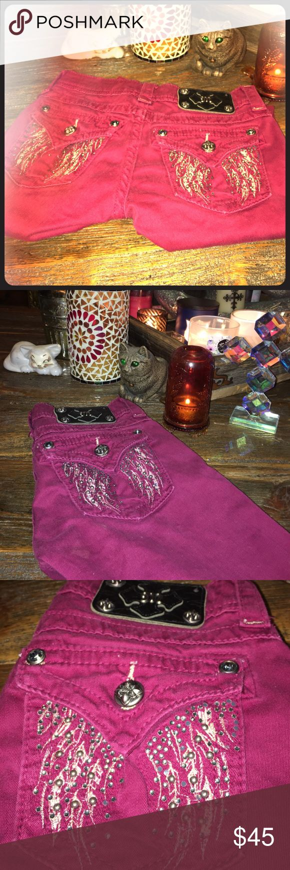 Miss Me skinny jeans Size 24 raspberry color. I just bought on this store for my teen and they are too tight. Miss Me Jeans Skinny