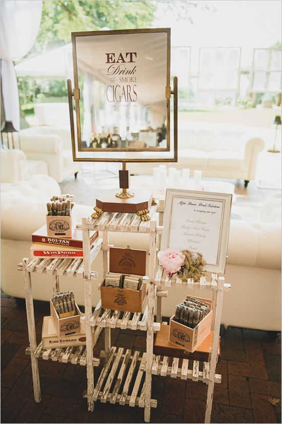 cigar station with personalized mirror from Charlotte vintage rentals thedarlingbee.com