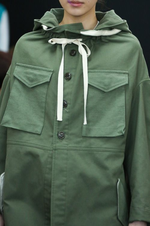 Green parka anorak | Oversize pockets | tricot comme des garcons