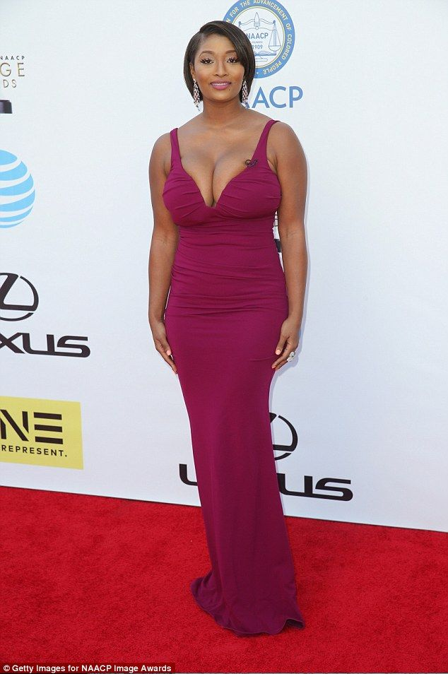 Taking the plunge! Toccara Jones was certainly not shy in her bold fuchsia dress...