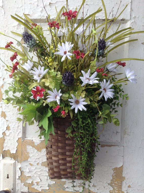 149 best wreaths baskets images on pinterest flower Spring flower arrangements for front door