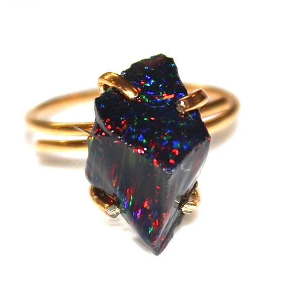 Raw Black Opal Ring Raw Opal Ring Free Form Ring by FizzCandy