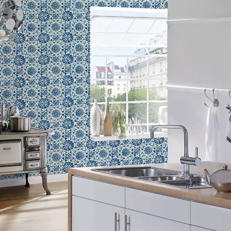 M s de 1000 ideas sobre papel pintado cocina en pinterest for Papel pintado imitacion azulejo