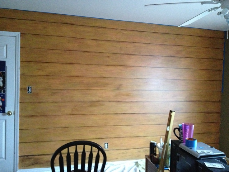 Faux Log Cabin Wall Paint And Glaze Kids Bedroom