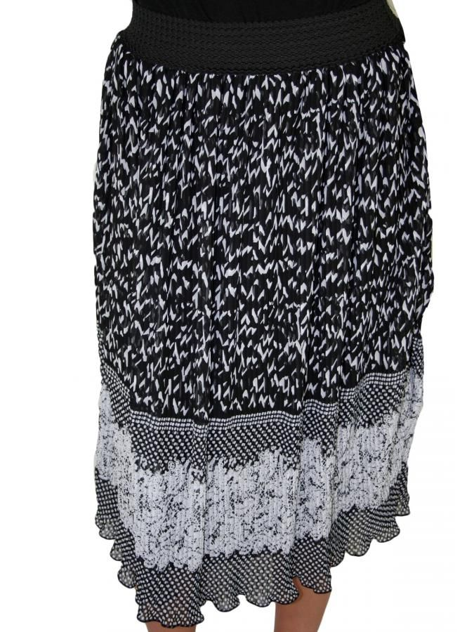 ZINO JORDAN Πλισέ ασπρόμαυρη φούστα