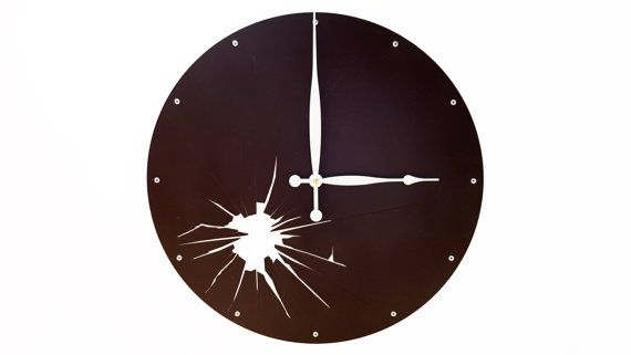 Shattered Metal, Large Wall Clock, Unique Wall Clock, Modern Wall Clock, Steampunk Art, Industrial Home Decor, Big, Laser Cut, Dark Brown