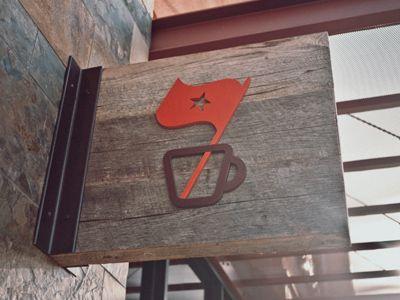 Sign version of Espresso Republic logo designed by Salih Kucukaga Design Studio.