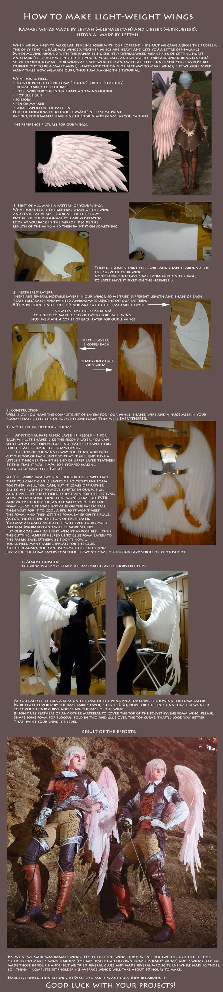 Tutorial: How to make light-weight wings (Kamael) by *ElenaLeetah on deviantART #cosplay #diy