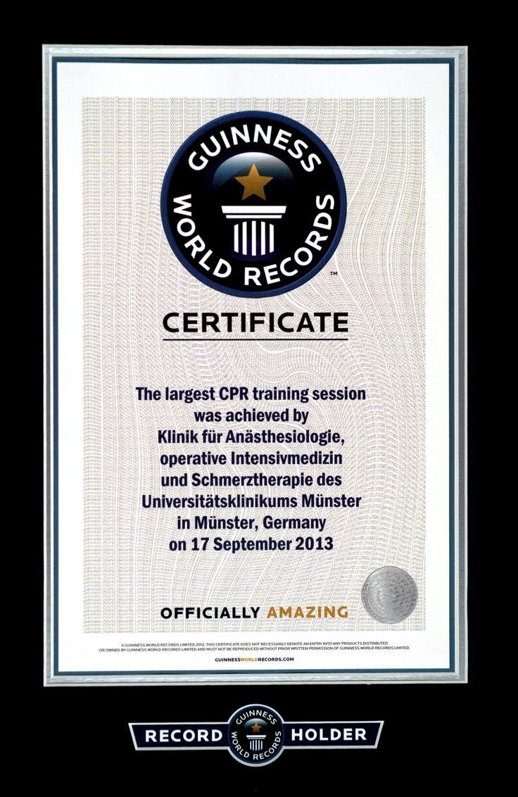 Woche der Wiederbelebung - Weltrekord in Münster - Zertifikat