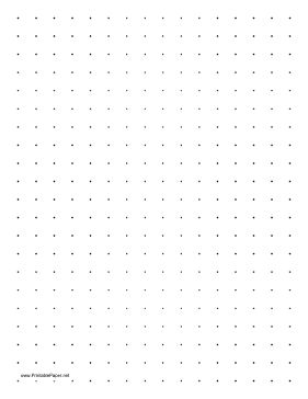 This printable dot paper has two dots per inch and is in portrait (vertical) orientation on letter-sized paper. Free to download and print