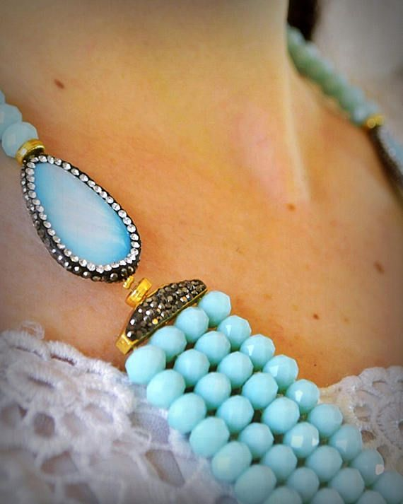 Baby Blue Multi Lines Necklace. Mother of Pearl Gemstone