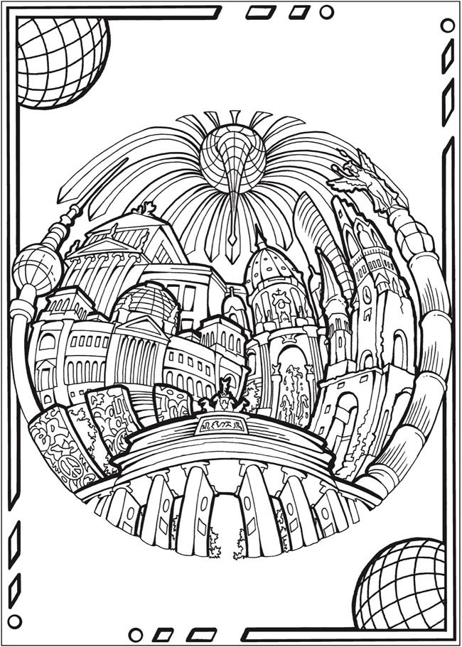 Creative Haven Circular Cities Coloring Book Welcome To Dover Publications