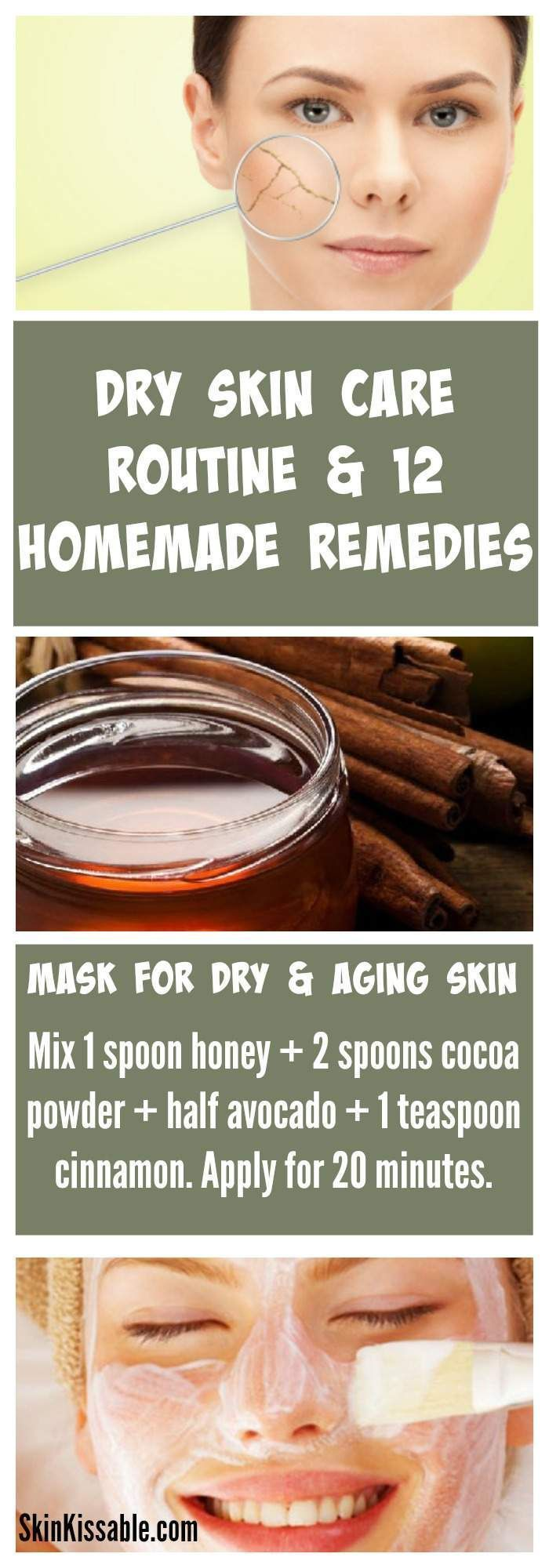 Dry Skin Care Routine and Home Remedies. How to deal with dry skin, best skin care regimen & dry skin  DIY recipes.