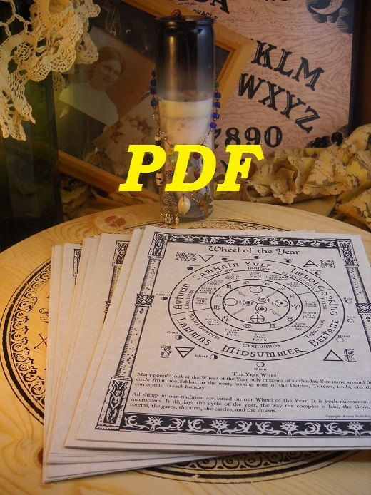 Sabbats BOS Sheets PDF specialty pack -- 8 sheets -- Book of Shadows pages