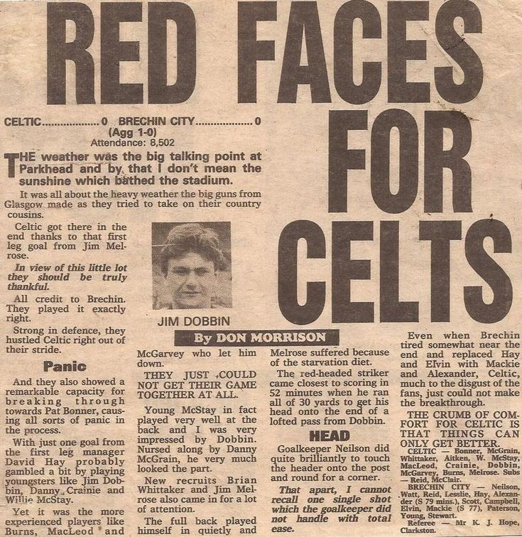 Celtic 0 Brechin City 0 (1-0 agg) in Aug 1983 at Parkhead. Newspaper report on the Scottish League Cup 2nd Round, 2nd Leg.