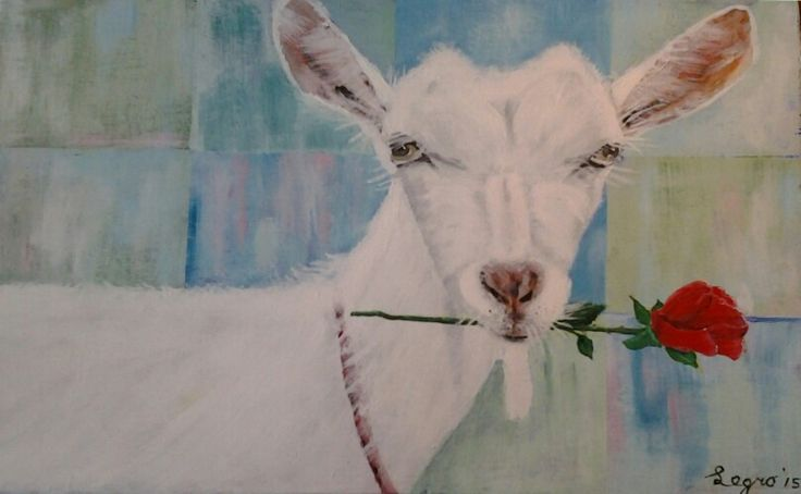 Greatings from a Dutch goat. Acrylic on wood. Made by Legro