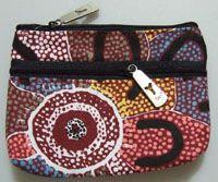 Yijan 2 Zip Keychain Coin Purse Design: Crow Women Dreaming Artist: Maureen Hudson Nampajimpa Code: YI-KCP-2Z-5 Price: $11.00 or 2 for $20.00
