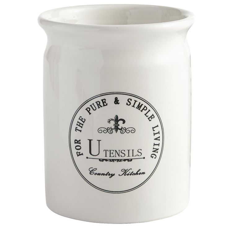 Keep your favorite gadgets and utensils close at hand with our Country Kitchen Crock. Patterned after 19th century Americana pottery, it's actually sculpted from creamy white dolomite and highlighted by traditional cobalt lettering. The inspiration may be farmhouse chic, but this utensil holder blends easily in a range of kitchens, from classic to retro.