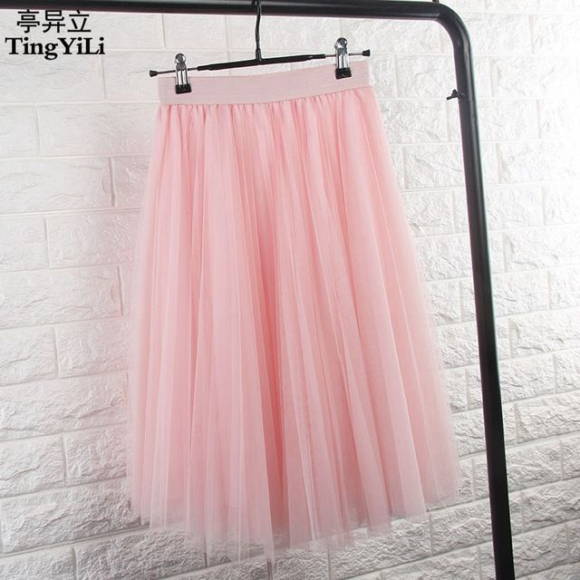 Good price TingYiLi Tulle Skirts Womens Black Gray White Adult Tulle Skirt Elastic High Waist Pleated Midi Skirt 2016 just only $12.90 with free shipping worldwide  #womanskirts Plese click on picture to see our special price for you