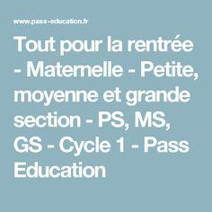 Tout pour la rentrée - Maternelle - Petite, moyenne et grande section - PS, MS, GS - Cycle 1 - Pass Education