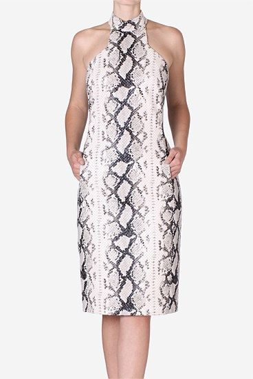 Snake T-Bar Sheath. The classic sheath has been given an exotic twist - snake print. A high neckline is complimented by the T-bar cut and fitted silhouette. Pull hair back for a more dramatic look, finishing it off with a simple cuff. One of Carla's wardrobe favourites.