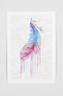 Rachel Caldwell Rainbow Feather Art Print