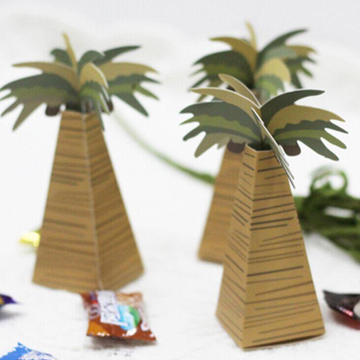 24pcs wedding favor box coconut Palm Tree baby shower favor box wedding accessories decoracion boda wedding favors and gifts
