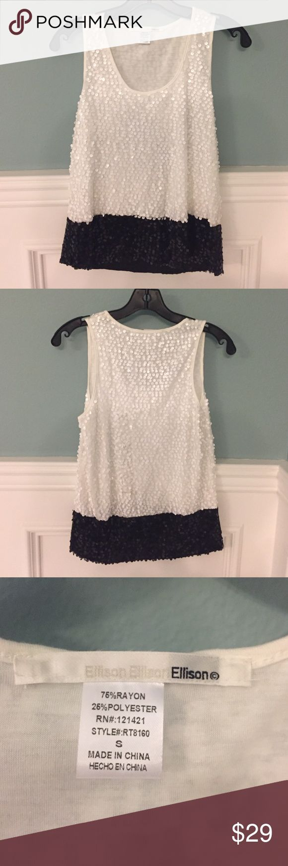 Black and white sequin top Super fun black and white sequin top. Comfy and cute. Can dress up with black pants or down with jeans! Nordstrom Tops
